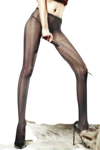 Baci Black Perforate Pantyhose
