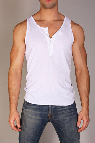 Timoteo White Placket Tank Top