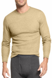 Alfani Oatmeal Heather Thermal Knit Waffle Crew-Neck Shirt