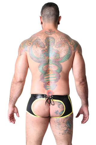 CellBlock 13 Black & Yellow Deviant Lace-Up Jock Trunk