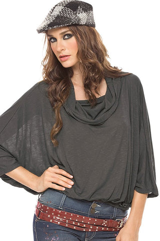 Fiory Grey Batwing Top