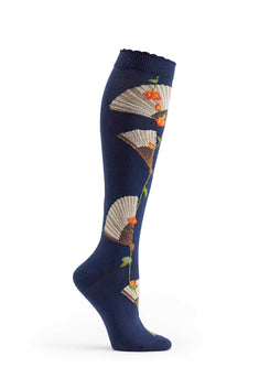 Ozone Navy Eventail Knee High Sock