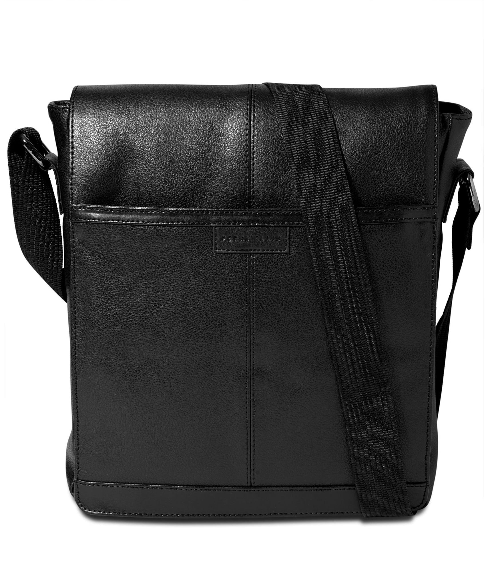 Perry Ellis Northsouth Leather Cross Body Bag Black One Size