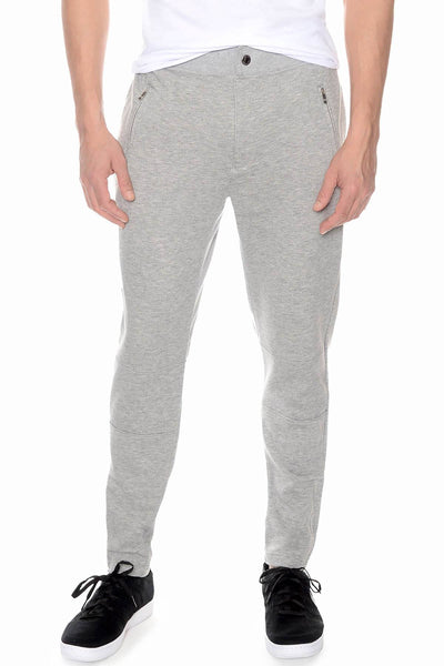 2(X)IST Light-Heather-Grey Zip French Terry Pant