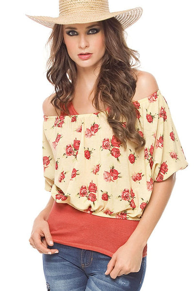 Fiory Beige Floral Strapless Top