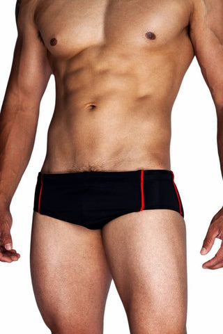 Tribe Black Swim Brief With Red Piping