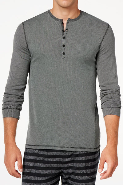 Kenneth Cole Black Men's Ribbed Henley Sleep Shirt - CheapUndies.com