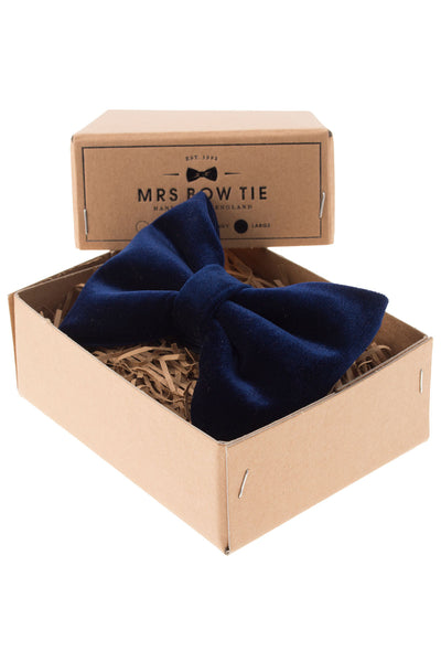 Mrs. Bow Tie Blue Velvet Large Bow Tie - CheapUndies.com