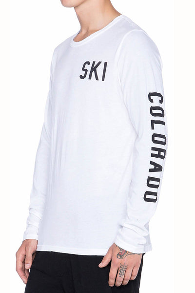 Rxmance Unisex White Ski Long Sleeve Tee - CheapUndies.com