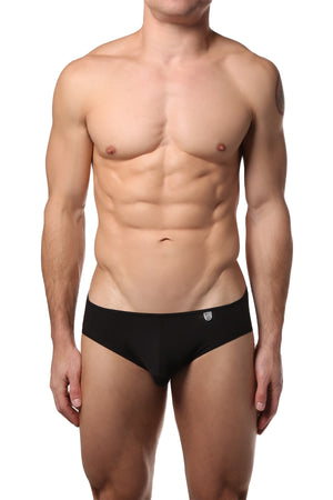Male Basics Black Microfiber Crossed Bikini