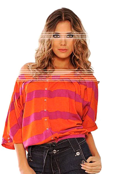 Fiory Orange & Pink Medusa Top