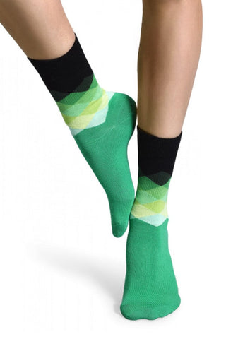 Happy Socks Green Faded Diamond Socks