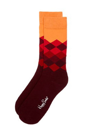 Happy Socks Orange Faded Diamond Socks