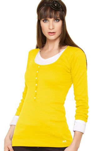 Fiory Yellow Ribbed Long Sleeve Henley
