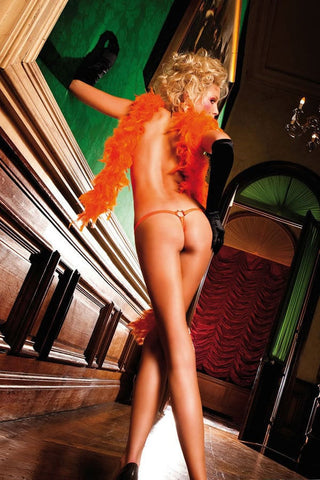 Baci Orange Pouch Thong with Metal Rings