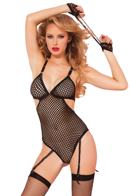 Seven 'Til Midnight Black 2-Pc Fishnet Teddy & Handcuffs Set - CheapUndies.com