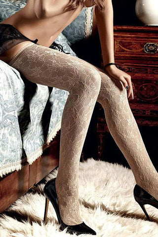 Baci Beige Floral Thigh High