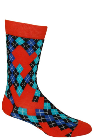 Ozone Orange Argyle Puzzle Calf Sock