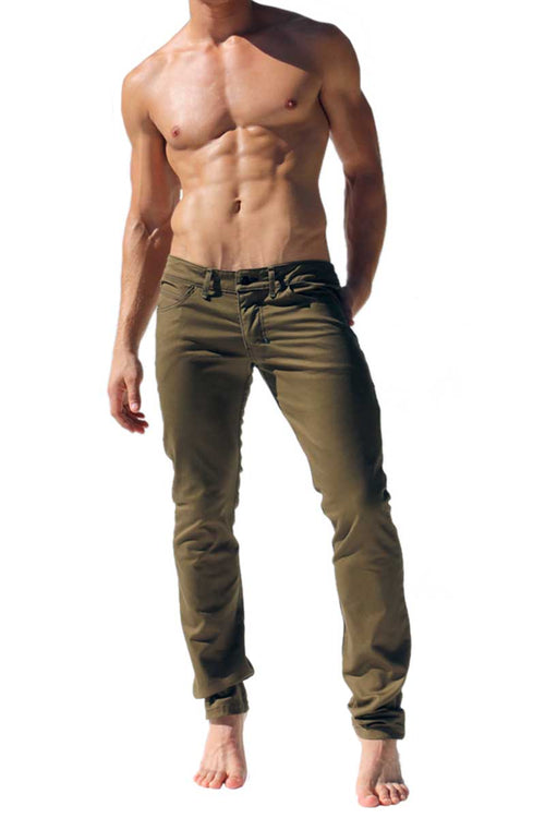Rufskin Olive Byron Stretch Twill 5-Pocket Jeans - CheapUndies.com