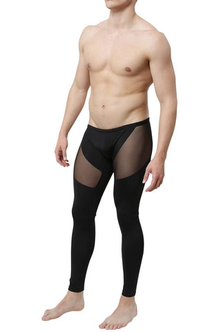 CheapUndies Black Mesh Panel Performance Tights