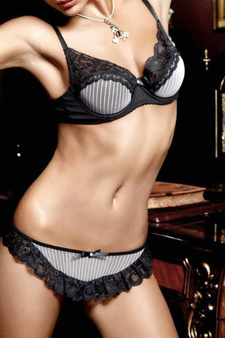 Baci Pinstripe Mesh and Lace Bra with Underwire Black