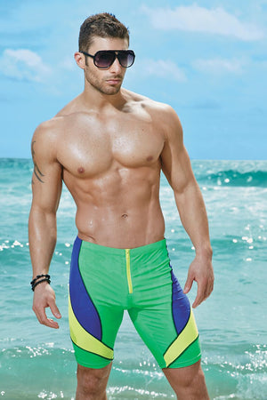 Body Tech Green,Blue & Yellow Surfer Runner Short