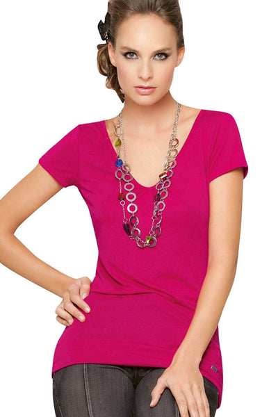 Fiory Pink Scooped Neck Tee