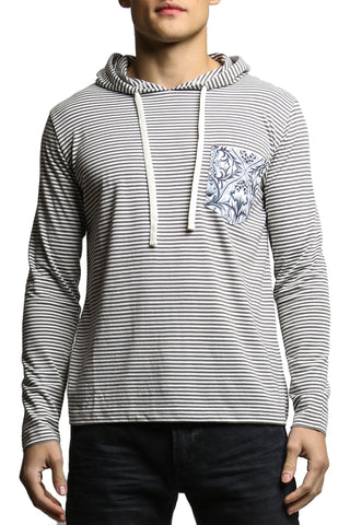 Do Nothing Grey Stripe Flower Flood Hooded Shirt