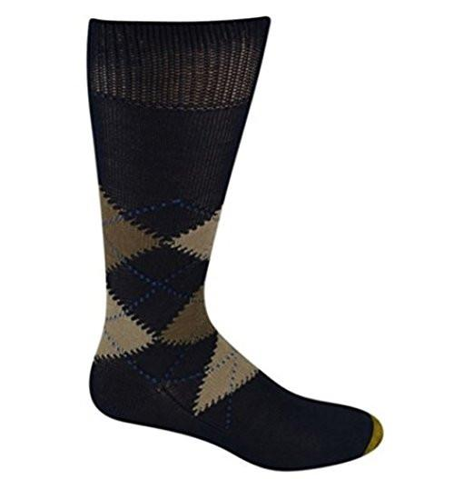 Gold Toe Socks Nottingham Argyle Crew Navy 1 Pair
