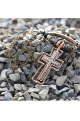 Smash Gold Mixed Metal Cross Necklace