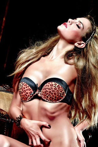 Baci Satin Leopard Convertible Bra With Underwire