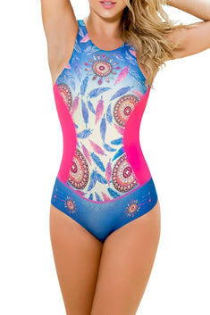 Mapale Multi-Color Zip-Back High-Cut One Piece Swimsuit