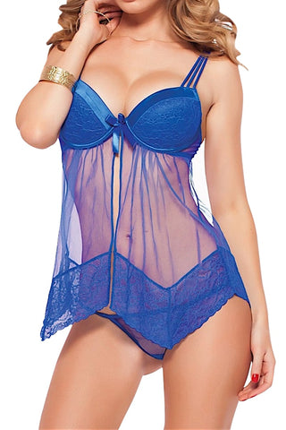 Seven 'Til Midnight Electric Blue Two Piece Chantilly Lace And Mesh Set