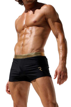 Rufskin Black & Gold Stefano Nylon Lycra Swim Trunk