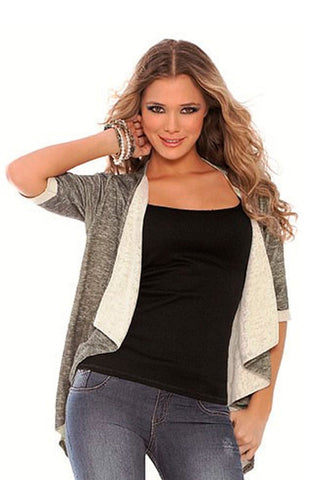 Firoy Grey Open Front Pullover