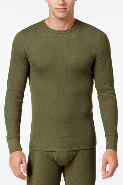 Alfani Fatigue Green Thermal Knit Waffle Crew-Neck Shirt - CheapUndies.com