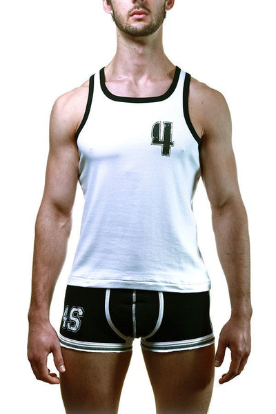 4Skins White & Black Slogan Tank Top