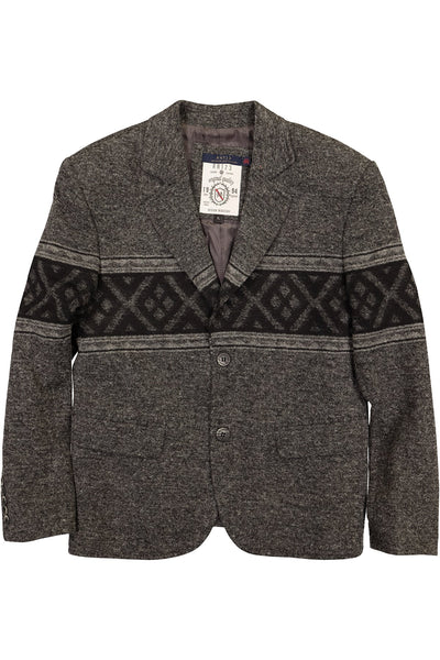RNT23 Grey Printed Contrast Blazer - CheapUndies.com