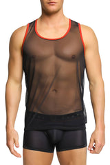 Gregg Homme Black Cheeky Mesh Tank Top