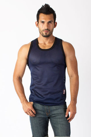 Timoteo Blue Mesh Tank Top