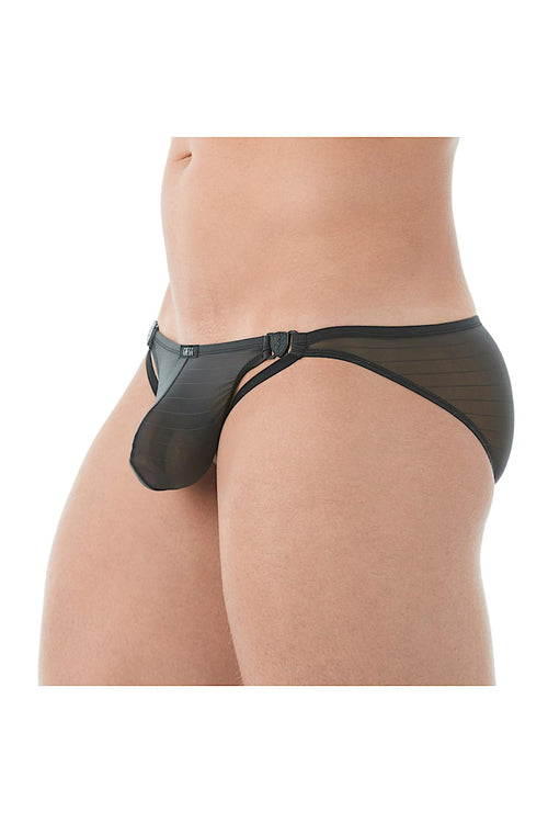 Gregg Homme Black Mesh Suspender C-Ring Brief - CheapUndies.com
