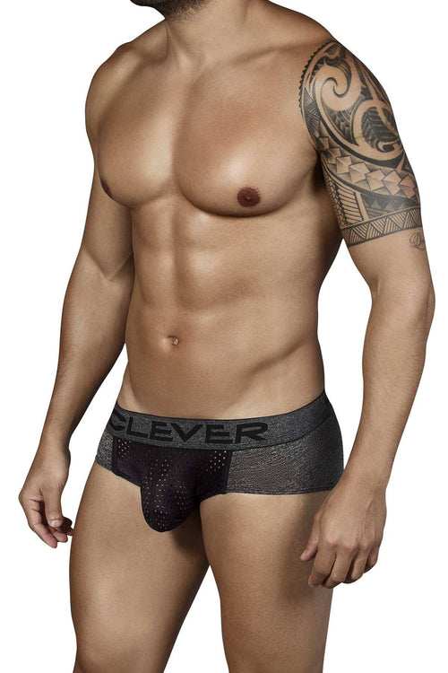 Clever Black Mottled Latin Brief - CheapUndies.com