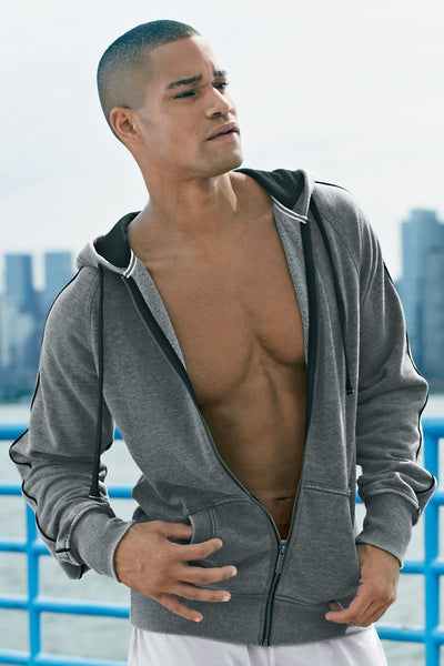 2(X)IST Dark Heather Grey Burnout Contrast Hoodie - CheapUndies.com