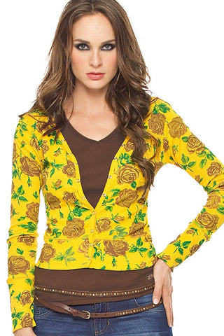 Fiory Yellow Floral Cardigan