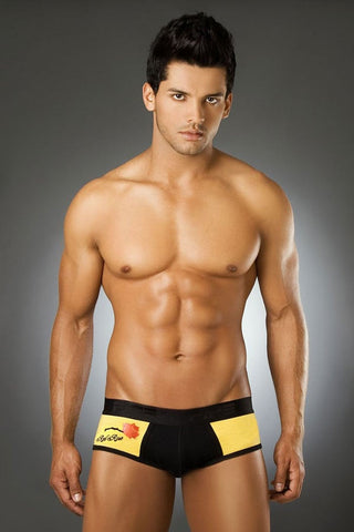 Pipe Black & Yellow Red Rose Brief