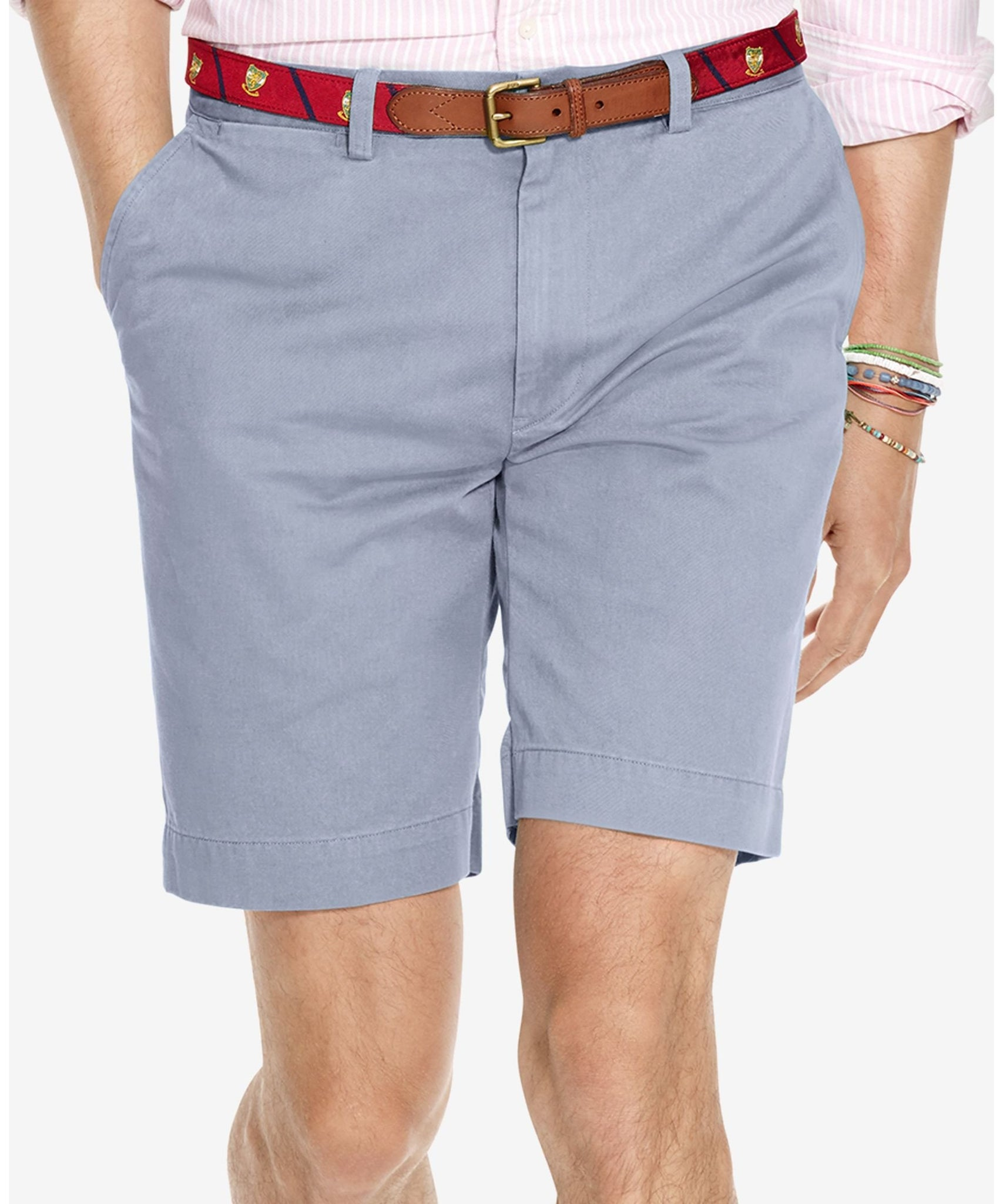 "Polo Ralph Lauren Blue/Grey 9"" Classic Fit Flat-Front Chino Short"