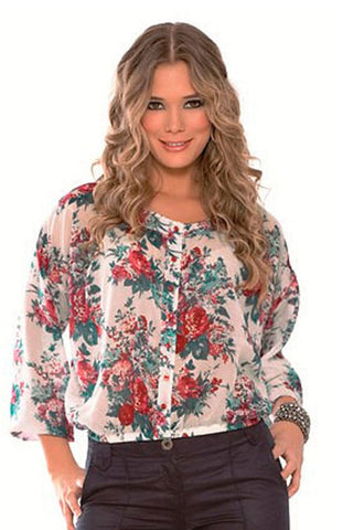 Fiory Red Floral Button-Down Top