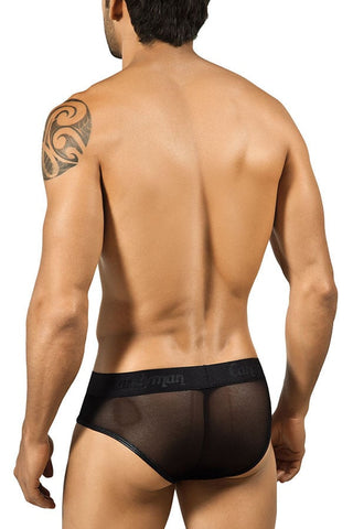 Candyman Black Lace-Up Mesh Brief