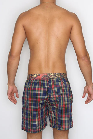 Ed Hardy Navy Tiger Plaid Boxer