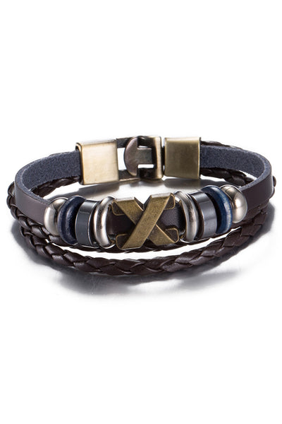 Vintage Brown Cross Leather Bracelet - CheapUndies.com